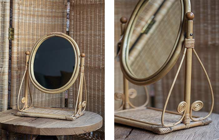 Product image for Vintage oval rattan mirror