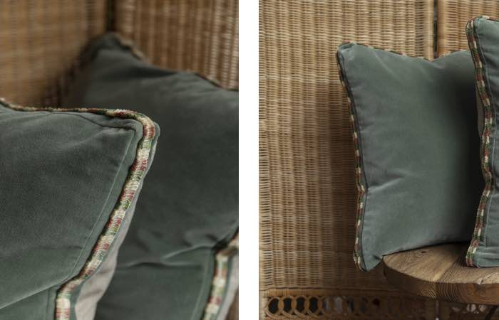 Product image for Blue/green velvet trimmed cushions