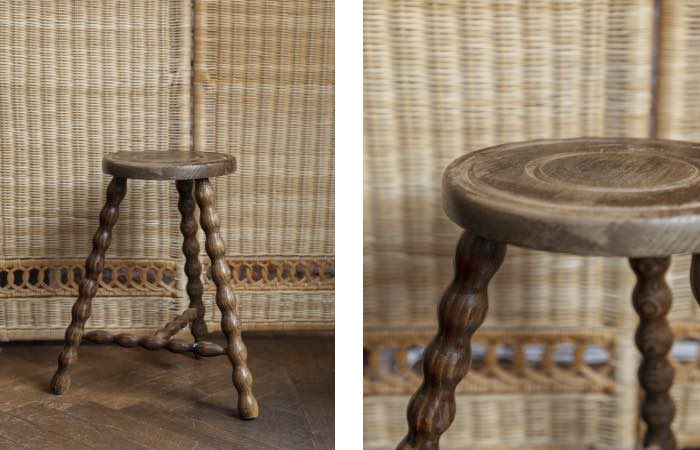 Product image for Vintage oak bobbin milking stool