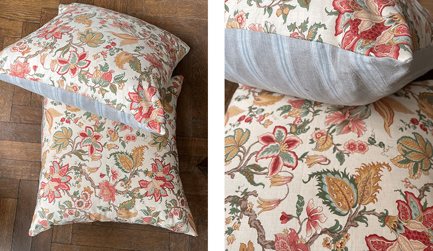 Product image for Vintage floral & striped back cushions