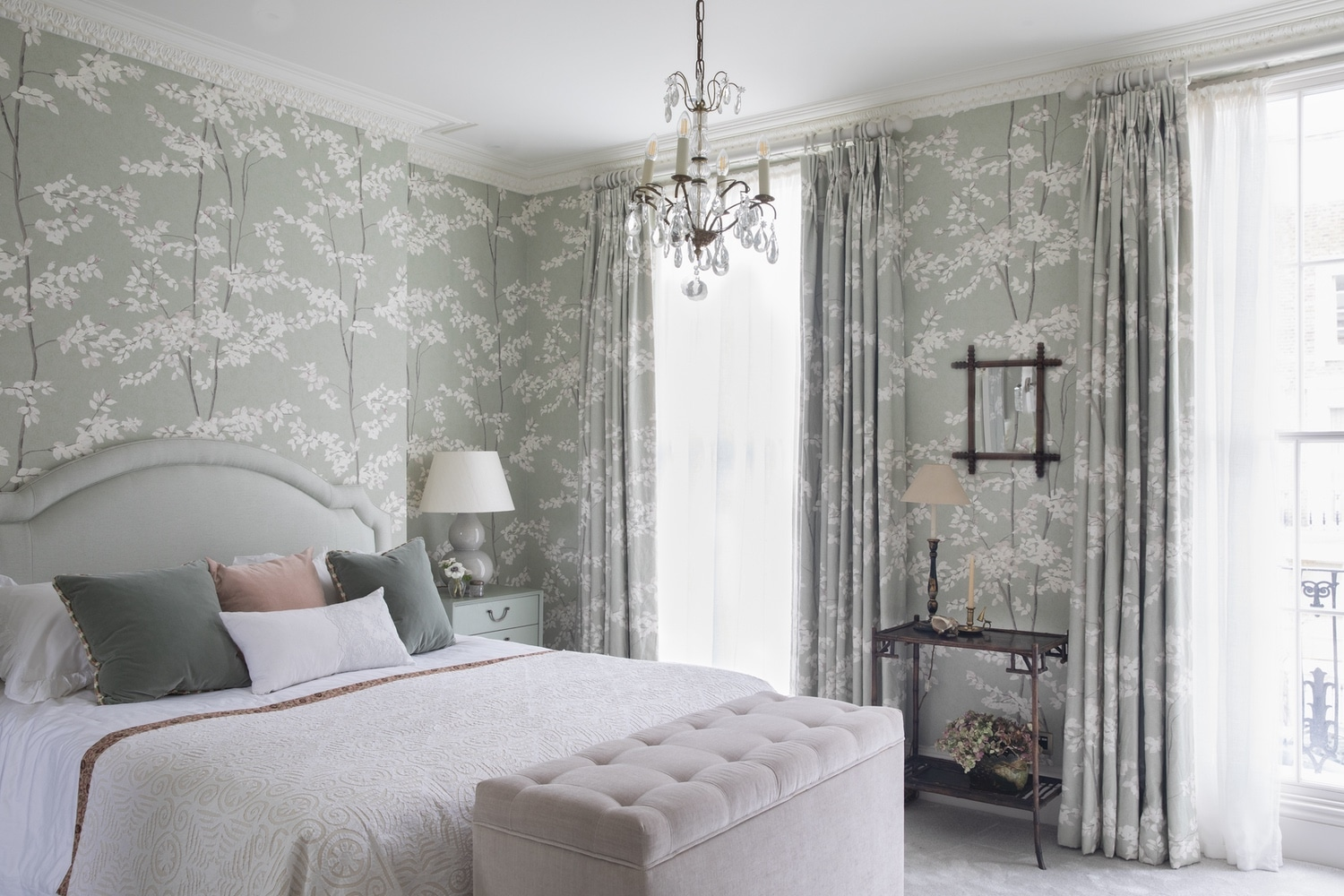 Matching patterned wallpaper & fabric in our Primrose Hill Victorian house project