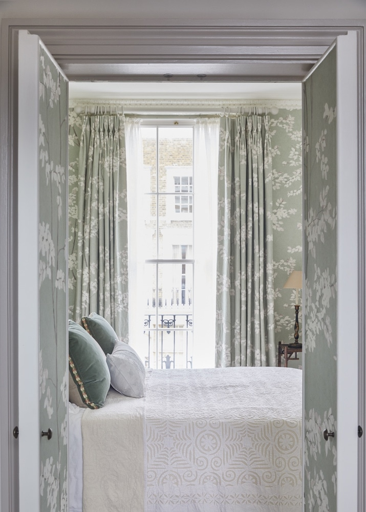 Interior Design of the Master Ensuite in Primrose Hill  with matching wallpaper & fabric