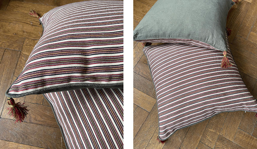 Product image for Bespoke striped silk cushions with tassels